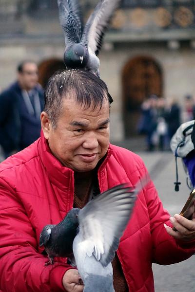 Nederland, Amsterdam, de Dam, een toerist maakt een selfie terwijl een duif duivenvoer uit zijn haren eet, 14 december 2016, foto: Katrien Mulder