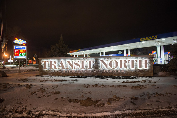 JOED VIERA/STAFF PHOTOGRAPHER- Lockport, NY-The Transit North sign's letters are all lit up.