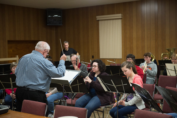 "Wallace Goodman directs members of the Sanborn Fire Company Band rehearse at Sanborn Fire Co. Hall. The traveling Band formed in 1930 both marches and plays concerts. 2015 marked Goodman's 50th year as its Director of Music. The Band rehearses the first three Monday's of the month between 7:30 and 9:00 pm. Their season runs from March to Early December. ""Music is a universal language, everyone is here because they enjoy playing."" said Band Manager Mark Banks."