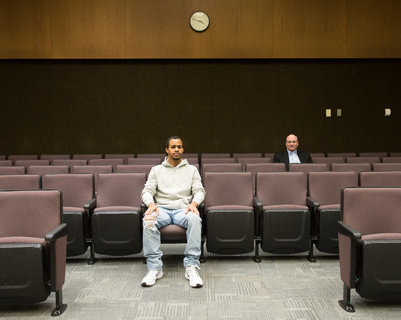 Dylan Lewis and CEO of Alison Mike Feerick sit in Lockport City Court on Tuesday, March 1, 2016 in Lockport, N.Y. Lewis is the first person to take a free online course as a mandated sanction in treatment court. (Joed Viera)