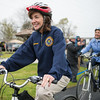 JOED VIERA/STAFF PHOTOGRAPHER- Lockport, NY-New York State Lt. Gov. Kathy Hochul and Lockport Mayor Anne McCaffrey take a bicycle ride along  Lockport's recently completed section of the Erie Canalway Trail.