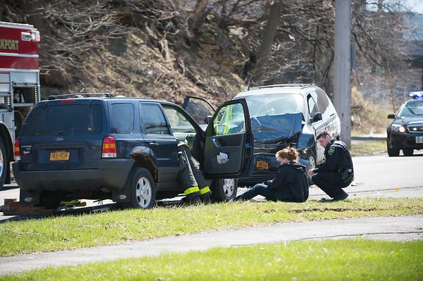 JOED VIERA/STAFF PHOTOGRAPHER- Lockport, NY-The scene of a two vehicle head on collision on Market Street.