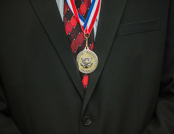 JOED VIERA/STAFF PHOTOGRAPHER- Wilson, NY-Wilson High School Senior Gabriel Curcione wears a silver level Congressional Award he was presented with.