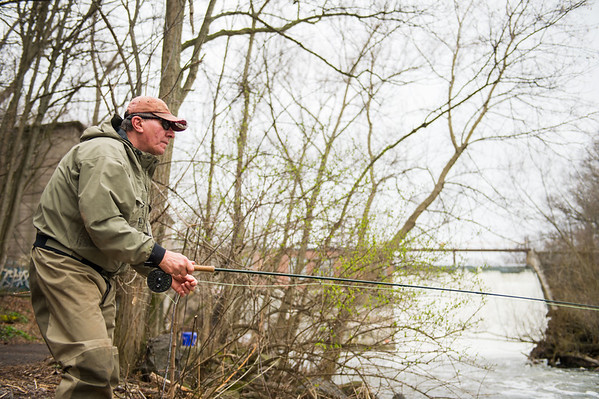 "JOED VIERA/STAFF PHOTOGRAPHER- Burt, NY-George Brojack fishes for the comradery and says ""the fish are just a plus"" at Fisherman's Park during his trip from Scranton, PA."