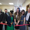 JOED VIERA/STAFF PHOTOGRAPHER- Lockport, NY-John Higgins, Roger L  Woodworth, Nina Cabrera, Erika Webster, Brandi Lyness and David Godfrey cut a ribbon celebrating the opening the new Veterans One-stop Center on Proffesional Parkway.