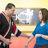 JOED VIERA/STAFF PHOTOGRAPHER- Lockport, NY-Ken Meier teaches Melissa Miller a few self-defense techniques at Karate Ken's.