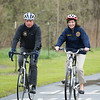 JOED VIERA/STAFF PHOTOGRAPHER- Lockport, NY-Director of the New York State Canal Corporation Brian U. Stratton and New York State Lt. Gov. Kathy Hochul take a bicycle ride along Lockport's recently completed section of the Erie Canalway Trail.