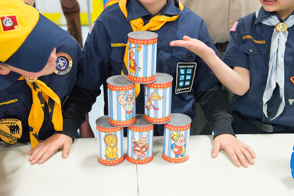 JOED VIERA/STAFF PHOTOGRAPHER-Lockport, NY-Rapids Fire Hall Cub Scout Pack 3071 set up games at the Kenan Arena.