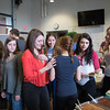JOED VIERA/STAFF PHOTOGRAPHER- Lockport, NY-Lockport High School students and visiting peers from France enjoy each others company at a farewell reception in the school's Art Gallery.