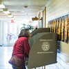 JOED VIERA/STAFF PHOTOGRAPHER- Lockport, NY-Dorothea Eichhorn votes in the presidential primary at Anna Merritt Elementary School.
