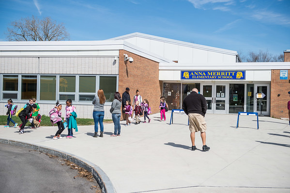 JOED VIERA/STAFF PHOTOGRAPHER- Lockport, NY-Students leave Anna Merritt Elementary at the end of the school day.