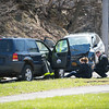JOED VIERA/STAFF PHOTOGRAPHER- Lockport, NY-The scene of a two vehicle head on collision on Market Street.