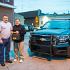 JOED VIERA/STAFF PHOTOGRAPHER- Lockport, NY-Scott Wood and Jeffrey Waters stand in front of a Middleport Police cruiser.