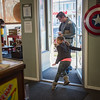JOED VIERA/STAFF PHOTOGRAPHER- Lockport, NY-Jason Mussachio and his daughter Amelia leave Pulp 716 with a couple of bubble teas and snacks..