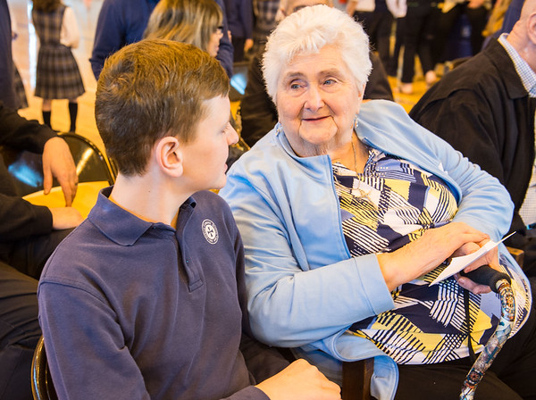 JOED VIERA/STAFF PHOTOGRAPHER- Lockport, NY-Brian Hillman, 13, chats with his grandmother Gloria HIllman at DeSales Catholic School.