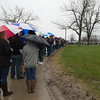 JOED VIERA/STAFF PHOTOGRAPHER- Amherst, NY-A crowd of supporters line up to attend a rally for Democratic candidate Bernie Sanders outside of Alumni Arena at UB's North Campus.