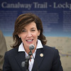 JOED VIERA/STAFF PHOTOGRAPHER- Lockport, NY- New York State Lt. Gov. Kathy Hochul speaks before ribbon cutting ceremony celebrating the completion of Lockport's section of the Erie Canalway Trail.