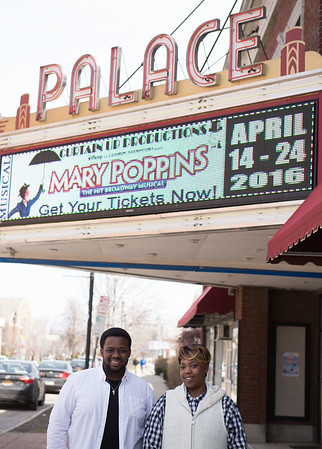 JOED VIERA/STAFF PHOTOGRAPHER- Lockport, NY-Demetrius Grant and Felicia Patterson stand outside of the Palace Theatre  dressed with white to promote their White Gala Event.