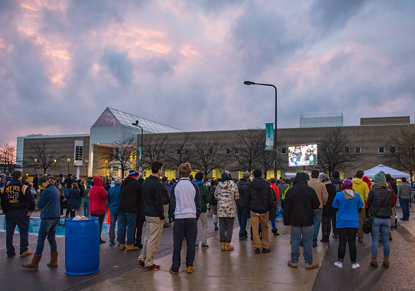 JOED VIERA/STAFF PHOTOGRAPHER- Amherst, NY-A crowd of supporters watch Democratic candidate Bernie Sanders' rally outside of Alumni Arena at UB's North Campus.
