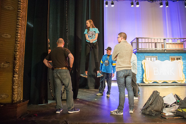 """JOED VIERA/STAFF PHOTOGRAPHER- Lockport, NY- Emily Prucha trys on the harness for a """"flying"""" aparatus needed for her role as Mary Poppins at the Palace Theatre."""