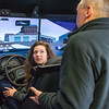JOED VIERA/STAFF PHOTOGRAPHER- Pendleton, NY-Erica Bradley tries out Niagara County Sheriffs Department's new driving simulator at Starpoint High School.