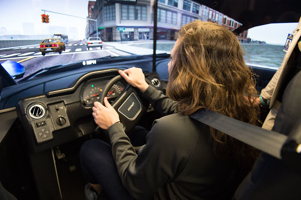 JOED VIERA/STAFF PHOTOGRAPHER- Pendleton, NY-Eric Bradley tries out Niagara County Sheriffs Department's new driving simulator at Starpoint High School.