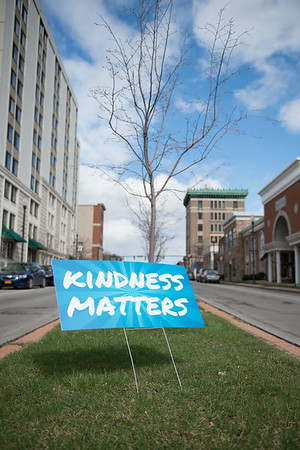 "JOED VIERA/STAFF PHOTOGRAPHER- Lockport, NY-A sign signals drivers that Kindness matters. The sign is part of Ellen Martin and Mollie Roland's ""April is the Kindest Month"" project."