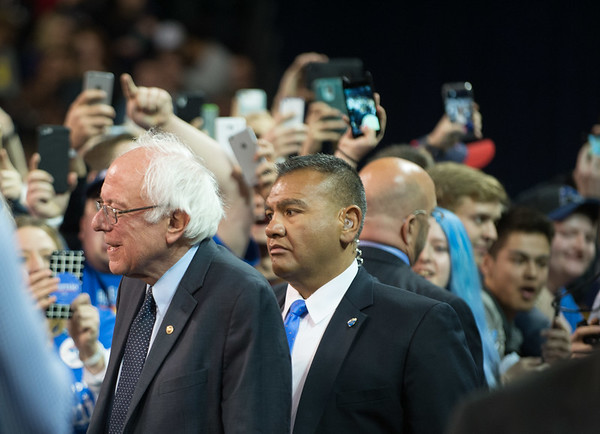 JOED VIERA/STAFF PHOTOGRAPHER- Amherst, NY-Democratic candidate Bernie Sanders  arrives at a rally in Alumni Arena at UB's North Campus.