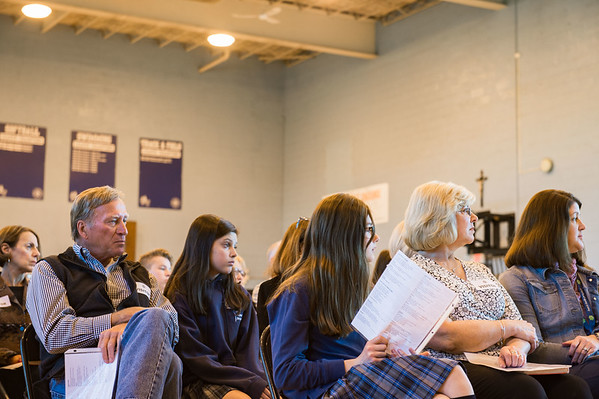 JOED VIERA/STAFF PHOTOGRAPHER- Lockport, NY-Students and their grand parents wai for mass to commence at DeSales Catholic School.