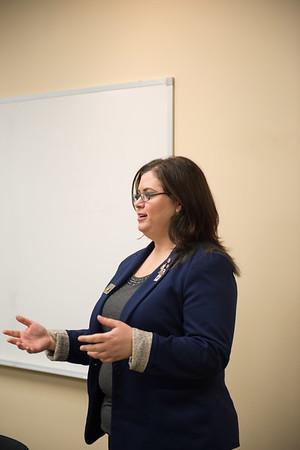 JOED VIERA/STAFF PHOTOGRAPHER- Lockport, NY-Nicole Mendolia speaks during the Rotaract meeting at the Lockport Public Library.