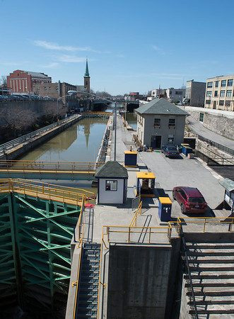 JOED VIERA/STAFF PHOTOGRAPHER- Lockport, NY-Winter work wraps-up while water works its way through portions of the Canal. New York State Canal Corporation workers started filling Locks 34 and 35 on Friday in preparation for the Canals 192nd consecutive navigation season which opens on May 1st.