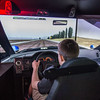 JOED VIERA/STAFF PHOTOGRAPHER- Pendleton, NY-Starpoint High School Senior Anthony Giamberdino 17 takes a ride in the Niagara County Sheriff's new driving simulator.