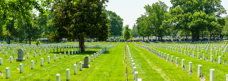 """Row of motorcycles as part of """"Rolling Thunder"""" activities for Memorial Day 2016 at Arlington National Cemetery."""