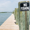 No Fishing Sign on a Pier Dock