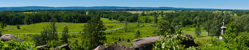 On Little Round Top looking northwest. Cemetery Ridge extends vertically along the right side (to the north).