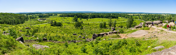On Little Round Top looking west. Devil's Den is on the left and Cemetery Ridge extends vertically along the right side (to the north).