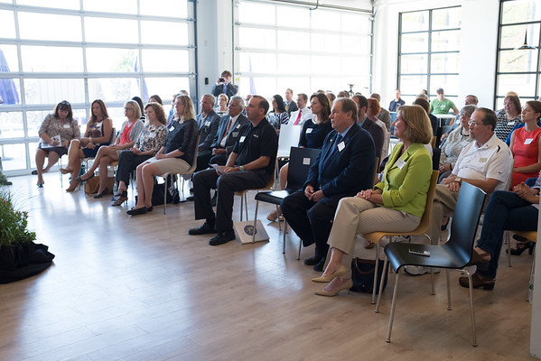JOED VIERA/STAFF PHOTOGRAPHER-Lockport, NY- A crowd watches as Lt. Governor Kathy Hochul announces the recipients of Yahoo's Community Fund for Niagara County.
