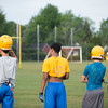 JOED VIERA/STAFF PHOTOGRAPHER-Lockport, NY- Players take a break during Lockport High School's first football practice of the season.