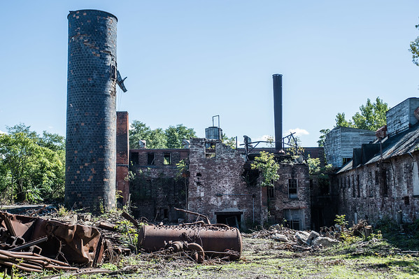 JOED VIERA/STAFF PHOTOGRAPHER-Lockport, NY-The remains of the FlintKote on Mill Street stand waiting to for the EPA to start demolition.