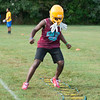 JOED VIERA/STAFF PHOTOGRAPHER-Lockport, NY-Keyun Hamilton,17, drills during Lockport High School's first football practice of the season.
