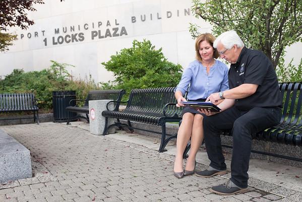 JOED VIERA/STAFF PHOTOGRAPHER-Lockport, NY-Lockport Mayor Anne McCaffrey and Lockport Police Chaplain Steve Antin go over plas for the 9/11 memorial ceremony.