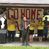 JOED VIERA/STAFF PHOTOGRAPHER-Somerset, NY-Niagara County Legislator John Syracuse spoke in opposition of the installation of the windmills in Somerset. Close to 500 people gathered to protest the installation.
