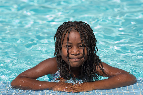 JOED VIERA/STAFF PHOTOGRAPHER-Lockport, NY- Za-myria Binion 5 takes a dip in the Lockport Community Pool.