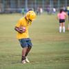 JOED VIERA/STAFF PHOTOGRAPHER-Lockport, NY- Mason Bovain, 18, drills during Lockport High School's first football practice of the season.