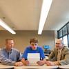 JOED VIERA/STAFF PHOTOGRAPHER-Lockport, NY- New York State Trig-Star coordinator Brian Skalman, PLS and Lockport High School Principal Frank Novalli read an award letter with recipient Antonio Faraci, 17.