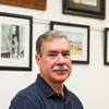 JOED VIERA/STAFF PHOTOGRAPHER-Lockport, NY-  Robert Rimmer in front of his work on display at the NIagara Historical Society