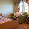 JOED VIERA/STAFF PHOTOGRAPHER-Gasport, NY-  Volunteer Nurse Barbara Jesz sits in a patientless room at Niagara Hospice.