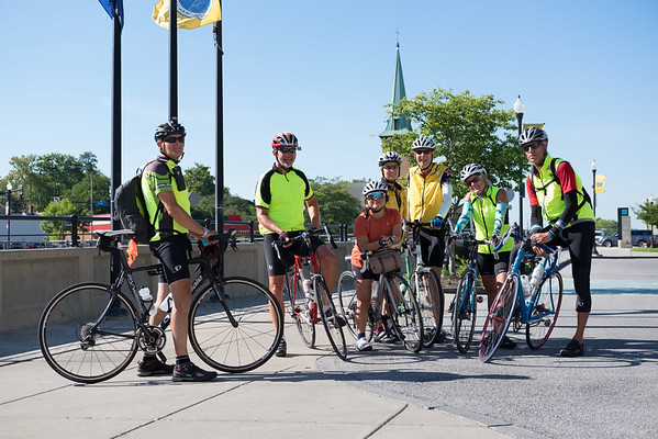 JOED VIERA/STAFF PHOTOGRAPHER-Lockport, NY- A group of Bikers traveling from Seattle to Main take a break at the Locks.