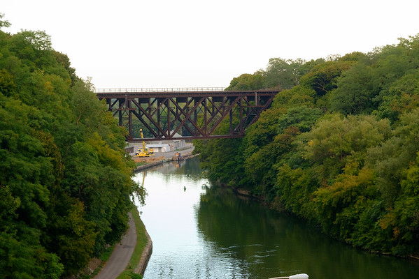 JOED VIERA/STAFF PHOTOGRAPHER-Lockport, NY-  A view of the Upside Down Bridge from Pine Bridge.