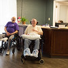 JOED VIERA/STAFF PHOTOGRAPHER- Lockport, NY- Lee Marsland and Phil Kunes have a laugh in the newly renovated lobby.